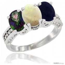 14K White Gold Natural Mystic Topaz, Opal & Lapis Ring 3-Stone 7x5 mm Oval Diamond Accent