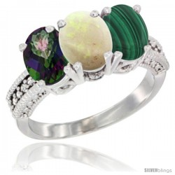 14K White Gold Natural Mystic Topaz, Opal & Malachite Ring 3-Stone 7x5 mm Oval Diamond Accent