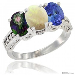 14K White Gold Natural Mystic Topaz, Opal & Tanzanite Ring 3-Stone 7x5 mm Oval Diamond Accent