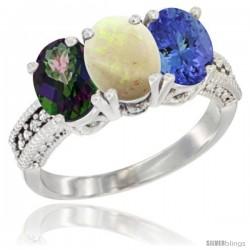 14K White Gold Natural Mystic Topaz, Opal & Tanzanite Ring 3-Stone 7x5 mm Oval Diamond Accent