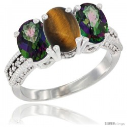 14K White Gold Natural Tiger Eye & Mystic Topaz Sides Ring 3-Stone 7x5 mm Oval Diamond Accent