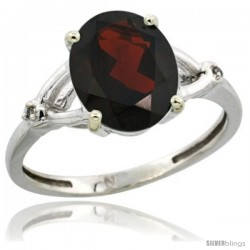 Sterling Silver Diamond Natural Garnet Ring 2.4 ct Oval Stone 10x8 mm, 3/8 in wide