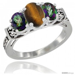 14K White Gold Natural Tiger Eye & Mystic Topaz Ring 3-Stone Oval with Diamond Accent