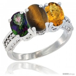 14K White Gold Natural Mystic Topaz, Tiger Eye & Whisky Quartz Ring 3-Stone 7x5 mm Oval Diamond Accent