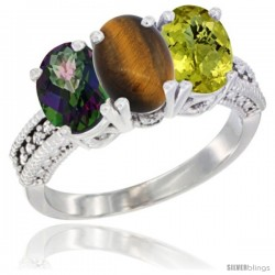 14K White Gold Natural Mystic Topaz, Tiger Eye & Lemon Quartz Ring 3-Stone 7x5 mm Oval Diamond Accent