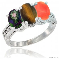 14K White Gold Natural Mystic Topaz, Tiger Eye & Coral Ring 3-Stone 7x5 mm Oval Diamond Accent