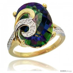 14k Gold Natural Mystic Topaz Ring 16x12 mm Oval Shape Diamond Accent, 5/8 in wide