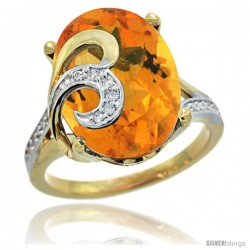 14k Gold Natural Citrine Ring 16x12 mm Oval Shape Diamond Accent, 5/8 in wide