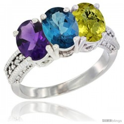 14K White Gold Natural Amethyst, London Blue Topaz & Lemon Quartz Ring 3-Stone 7x5 mm Oval Diamond Accent