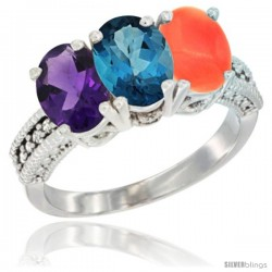 14K White Gold Natural Amethyst, London Blue Topaz & Coral Ring 3-Stone 7x5 mm Oval Diamond Accent