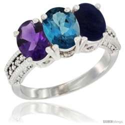 14K White Gold Natural Amethyst, London Blue Topaz & Lapis Ring 3-Stone 7x5 mm Oval Diamond Accent