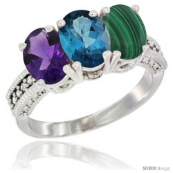 14K White Gold Natural Amethyst, London Blue Topaz & Malachite Ring 3-Stone 7x5 mm Oval Diamond Accent