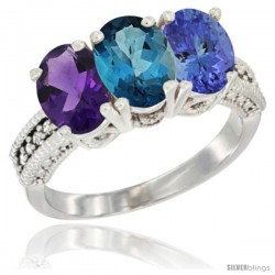 14K White Gold Natural Amethyst, London Blue Topaz & Tanzanite Ring 3-Stone 7x5 mm Oval Diamond Accent