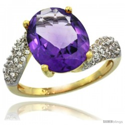 14k Gold Natural Amethyst Ring 12x10 mm Oval Shape Diamond Halo, 1/2inch wide
