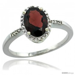 Sterling Silver Diamond Natural Garnet Ring 1.17 ct Oval Stone 8x6 mm, 3/8 in wide