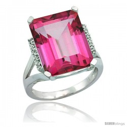 10k White Gold Diamond Pink Topaz Ring 12 ct Emerald Cut 16x12 stone 3/4 in wide