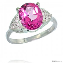10k White Gold Diamond Pink Topaz Ring 2.40 ct Oval 10x8 Stone 3/8 in wide