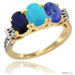 10K Yellow Gold Natural Blue Sapphire, Turquoise & Tanzanite Ring 3-Stone Oval 7x5 mm Diamond Accent