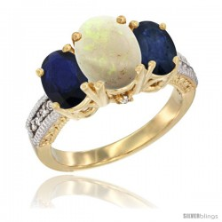 10K Yellow Gold Ladies 3-Stone Oval Natural Opal Ring with Blue Sapphire Sides Diamond Accent