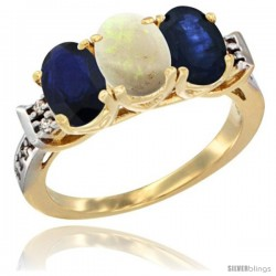 10K Yellow Gold Natural Opal & Blue Sapphire Sides Ring 3-Stone Oval 7x5 mm Diamond Accent