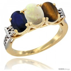 10K Yellow Gold Natural Blue Sapphire, Opal & Tiger Eye Ring 3-Stone Oval 7x5 mm Diamond Accent