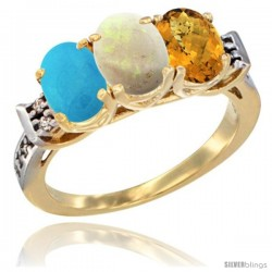 10K Yellow Gold Natural Blue Sapphire, Opal & Whisky Quartz Ring 3-Stone Oval 7x5 mm Diamond Accent
