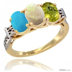 10K Yellow Gold Natural Blue Sapphire, Opal & Lemon Quartz Ring 3-Stone Oval 7x5 mm Diamond Accent