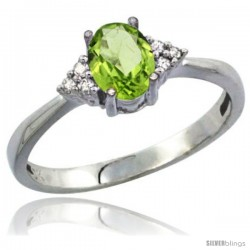 10K White Gold Natural Peridot Ring Oval 7x5 Stone Diamond Accent