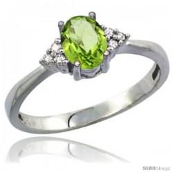 10K White Gold Natural Peridot Ring Oval 7x5 Stone Diamond Accent
