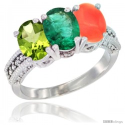 10K White Gold Natural Peridot, Emerald & Coral Ring 3-Stone Oval 7x5 mm Diamond Accent
