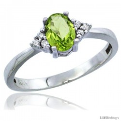 10K White Gold Natural Peridot Ring Oval 6x4 Stone Diamond Accent