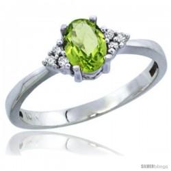 10K White Gold Natural Peridot Ring Oval 6x4 Stone Diamond Accent