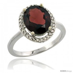 Sterling Silver Diamond Natural Garnet Ring 2.4 ct Oval Stone 10x8 mm, 1/2 in wide -Style Cwg10114