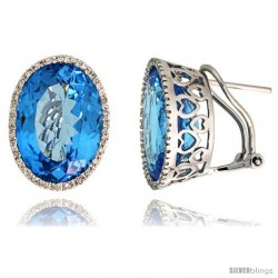 14k White Gold Large Stone French Clip Earrings, w/ 0.33 Carat Brilliant Cut Diamonds & 19.00 Carats 16x12mm Oval Cut Blue