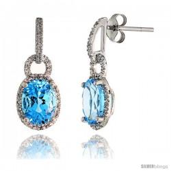 "14k White Gold Stone Earrings, w/ 0.12 Carat Brilliant Cut Diamonds & 4.81 Carats 9x7mm Oval Cut Blue Topaz Stone, 7/8"" (22mm)"