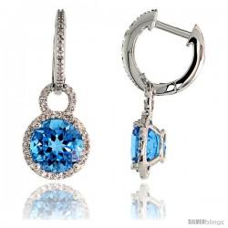 "14k White Gold Stone Earrings, w/ Brilliant Cut Diamonds & 8mm Blue Topaz Stone, 1"" (25mm) tall"