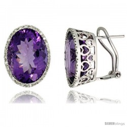 14k White Gold Large Stone French Clip Earrings, w/ 0.33 Carat Brilliant Cut Diamonds & 21.00 Carats 16x12mm Oval Cut Amethyst