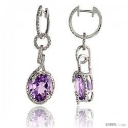 "14k White Gold Swirl Stone Earrings, w/ 0.64 Carat Brilliant Cut Diamonds & 7.98 Carats 11x9mm Oval Cut Amethyst Stone, 1 7/16"""