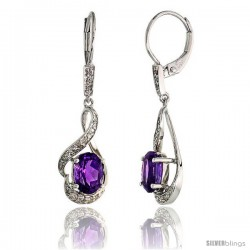 14k White Gold Lever Back Stone Earrings, w/ 0.13 Carat Brilliant Cut Diamonds & 1.50 Carats 7x5mm Oval Cut Amethyst Stone, 1