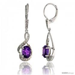 14k White Gold Lever Back Stone Earrings, w/ 0.13 Carat Brilliant Cut Diamonds & 1.50 Carats 7x5mm Oval Cut Amethyst Stone, 1