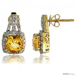 "14k White Gold Large Stone Earrings, w/ 0.30 Carat Brilliant Cut Diamonds & 3.78 Carats 7mm Cushion Cut Citrine Stone, 5/8"""