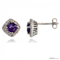 14k White Gold Stud Stone Earrings, w/ 0.30 Carat Brilliant Cut Diamonds & 1.30 Carats 5mm Cushion Cut Amethyst Stone, 5/16""