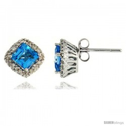 "14k White Gold Stud Stone Earrings, w/ 0.30 Carat Brilliant Cut Diamonds & 1.30 Carats 5mm Princess Cut Blue Topaz Stone, 5/16"""