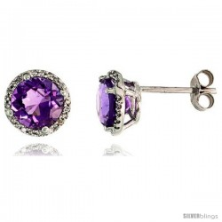 "14k White Gold Stud Stone Earrings, w/ 0.12 Carat Brilliant Cut Diamonds & 2.95 Carats 7mm Amethyst Stone, 3/8"" (9mm)"