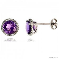 "14k White Gold Stud Stone Earrings, w/ 0.12 Carat Brilliant Cut Diamonds & 2.95 Carats 7mm Amethyst Stone, 3/8"" (9mm)"