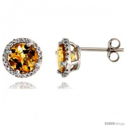 "14k White Gold Stud Stone Earrings, w/ 0.12 Carat Brilliant Cut Diamonds & 2.95 Carats 7mm Citrine Stone, 3/8"" (9mm)"