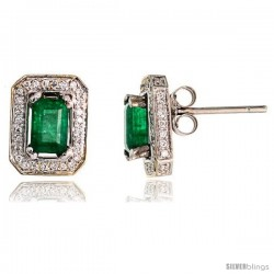 14k White Gold Stud Stone Earrings, w/ 0.34 Carat Brilliant Cut Diamonds & 1.20 Carats 7x4mm Emerald Cut Emerald Stone, 7/16""