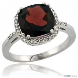 Sterling Silver Diamond Natural Garnet Ring 3.05 ct Cushion Cut 9x9 mm, 1/2 in wide