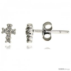 "14k White Gold Cross Stud Earrings, w/ 0.15 Carat Brilliant Cut Diamonds, 3/16"" (5mm) tall"