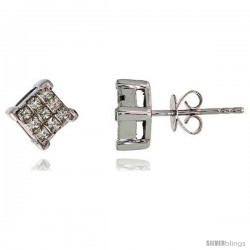 "14k White Gold Square Stud Diamond Earrings, w/ 0.50 Carat Invisible Set Diamonds, 1/4"" (6mm)"